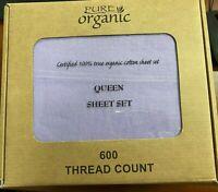 4pcs 100% Organic Cotton Bed Sheet Set 600 Queen Size 600 TC,Lavender Queen