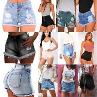 Womens Ripped Denim Shorts Jeans High Waisted Skinny Summer Beach Mini Hot Pants
