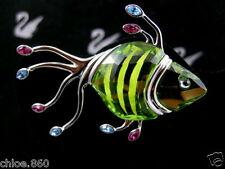SIGNED SWAROVSKI CRYSTAL FISH PIN ~ BROOCH RETIRED RARE NEW IN BOX