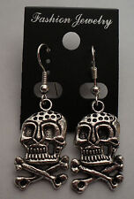 Skull PIRATE Gothic Tibet Silver Earrings Silver French Hooks FREE SHIPPING #E88