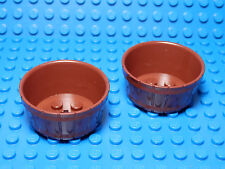 LEGO LEGOS  -  Set  of  2 NEW Large Half Barrels with Axle Hole  Reddish Brown
