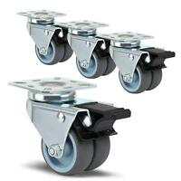 4 x Heavy Duty Swivel Castor Wheels 50mm with Brake for Trolley Furniture J8U8