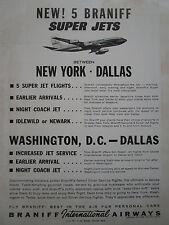 7/1963 PUB BRANIFF AIRWAYS AIRLINES BOEING AIRLINER DALLAS ORIGINAL AD