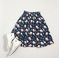 ModCloth Retro Rockabilly Novelty Navy Blue Sweet Spot A Line High Waist Skirt