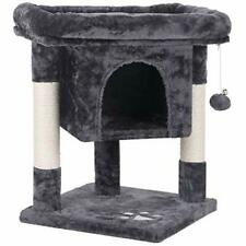 New listing Bewishome Cat Tree Cat House Cat Condo with Sisal Scratching (Smoky Grey)