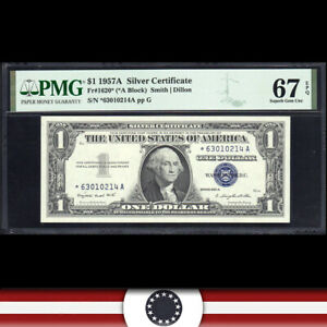 1957-A $1 SILVER CERTIFICATE *STAR REPLACEMENT* PMG 67 EPQ  Fr 1620* *63010214A