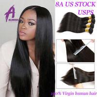 Brazilian Straight 4Bundles 100% Virgin Human Hair Extensions Weft Hair US STOCK