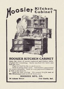 "HOOSIER Kitchen CABINET 1905 Oak Cupboard w Flour Bins 8x10"" Antique REPRINT AD"