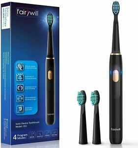 Fairywill Sonic Electric Rechargeable Toothbrush 2 Brush Heads 4 Cleaning Modes