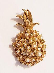 Vintage Alice Caviness Goldtone Faux Pearl Rhinestone Pineapple Brooch