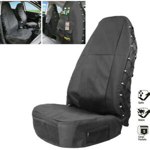 Car Seat Cover w/Multi-Pockets Storage Fit for High Back Bucket Seat Accessories