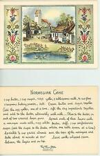 VINTAGE FARM COTTAGE GARDEN GEESE NORWEGIAN CAKE RECIPE PRINT 1 BAKERY CARD