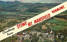 Greetings from Stowe Mt. Manfield Vermont VT aerial view Postcard