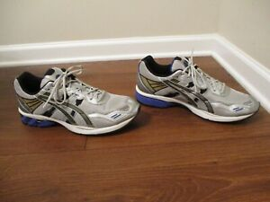 Lightly Used Worn Size 14 Asics Gel Helios Shoes Silver Black Blue White