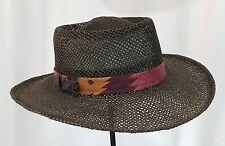 VTG Dorfman Pacific Wide Brim Summer Fedora Brown Straw Panama Hat Sun Beach 7 S