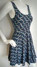 ECOTE casual jersey skater dress size S --MINT-- abstract print plunge back