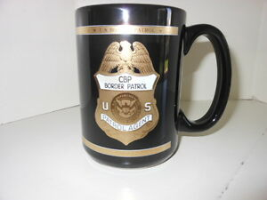 U.S. BORDER PATROL PORCELAIN COFFEE MUG BLACK GOLD ACCENTS NEW