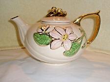 Vintage HULL ART Porcelain Teapot Pink Flowers Gold Trim