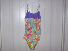 NEW! YMI GIRLS COLORFUL RUFFLE PAISLEY ONE PC. SWIMSUIT SIZE 14 RETAIL $50