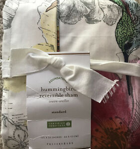 (1) Pottery Barn Hummingbird Standard Pillow Sham 26x20 - New - Floral