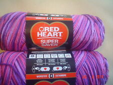 3 Skeins of Red Heart Super Saver Worsted Weight Yarn in Plum Pudding  #0940