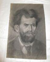 um 1900 signiert akademische Kohlezeichnung von HAND - Selbst Portrait (?) Kopf