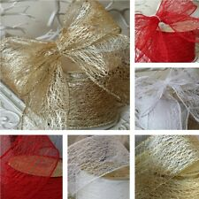 Wired Web Effect Christmas Ribbon Gold, White, Red or Silver. , Wreath Tree Xmas