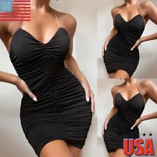Sexy Womens Backless Cami Mini Dress Pleated Strapless Bodycon Party Clubwear US