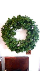 """30"""" Artificial Fir Wreath Silver Accents UNLIT Christmas Holiday Home Decor"""