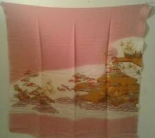 Scarf Japanese Traditional Design Pink Scarf w. Landscape Made in Japan