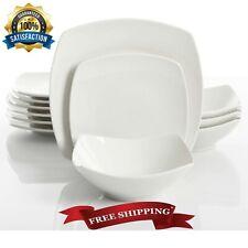 White Dishes Set Kitchen Ceramic Dinnerware Light Modern Square Service 12 Pc