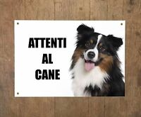 AUSTRALIAN SHEPERD MOD2 attenti al cane TARGA cartello IN METALLO