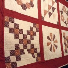 """6 sqs HANDMADE QUILT 68x48"""" So Very Well Done SM EVEN STITCHES Mitred corners"""