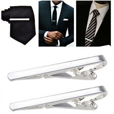 2X Gentleman Mens Silver Tie Clip Metal Simple Practical Plain Necktie Bar Clasp