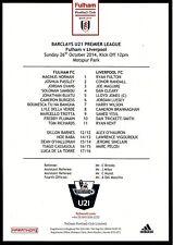 Teamsheet - Fulham U21 v Liverpool U21 2014/15