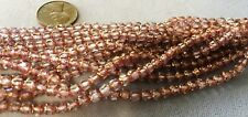 200 Rosaline Pink and Gold CATHEDRAL BEADS 4mm x 4mm