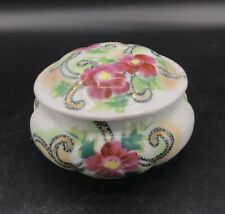 Vintage Porcelain Nippon Hand Painted Floral Moriage Powder Jar Japan