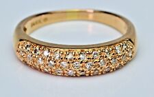 14K Rose Gold Pave Diamond Band Ring 5 mm wide