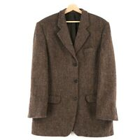 Harris Tweed 100% Laine Marron Veste Blazer Taille US / Ru 42 Eur