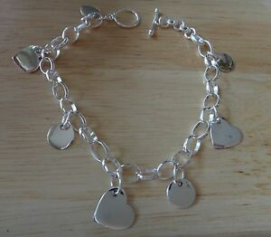 """7.5"""" Sterling Silver 9gram Valentines Day with 3 Heart & 4 Round Charm Bracelet"""