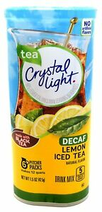 CRYSTAL LIGHT LEMON ICED TEA DECAF Powdered DRINK MIX (6 Pitcher Packs x 2 Cans)