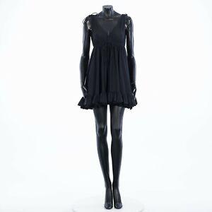 BALENCIAGA 1550$ Black Ruffled Stretch-Jersey Babydoll Dress