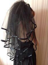 Schwarz Ellbogen 5T Gothic Brautschleier Ribbon edge Show Party mit Kamm 85 cm
