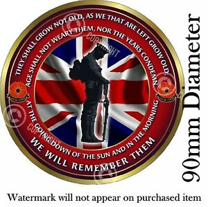 ARMY Lest we forget Remembrance day static cling car window/glass sticker