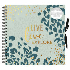 Live Love Explore Animal Print Spiral Bound Scrapbook Photo Album 40 Sheets