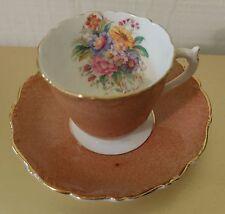 Vintage Cabinet Cup Saucer Coalport Brown/orange Speckled with Floral Inside
