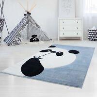 Kinderteppich Hochwertig Konturenschnitt Glanzgarn Panda-Bär Pastell-Türkis