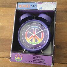 Bongo Alarm Desk Clock Purple Peace Sign Bell Ringer - New in Box
