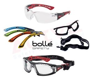 Bolle RUSH+ Plus Safety Glasses with Coloured Temples Anti-scratch Anti-fog Lens