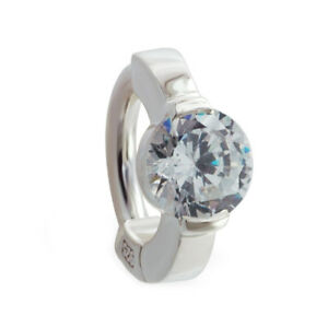 TummyToys Sterling Silver Navel Ring with Central Large Round Clear CZ[TT-65032]